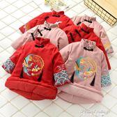 2018年新款兒童唐裝冬季中小童中國風七分袖喜慶拜年服新年女童裝·蒂小屋服飾