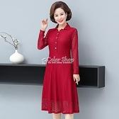 喜婆婆禮服連衣裙媽媽春裝新款蕾絲連衣裙中老年女闊太太過膝裙子 新年禮物