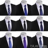懶人領帶男 正裝 商務黑色休閒學生面試結婚一拉得8cm拉鍊領帶 深藏blue