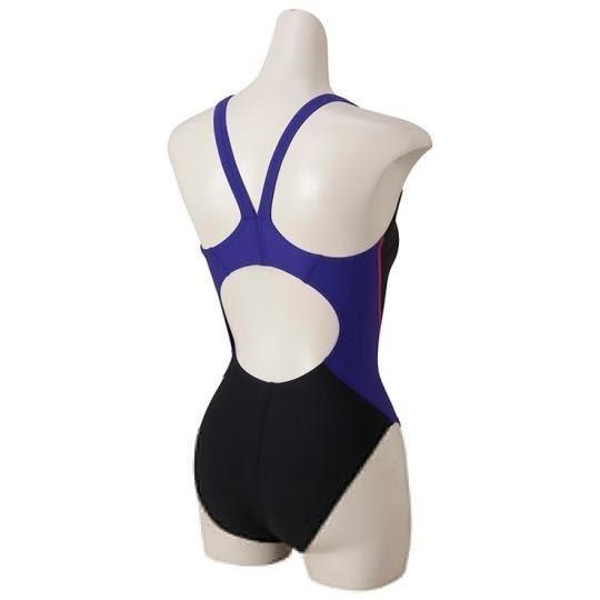 MIZUNO美津濃 EXER EXER 女童用練習泳衣 (黑*紫*玫瑰紅) 中叉 附掛鉤