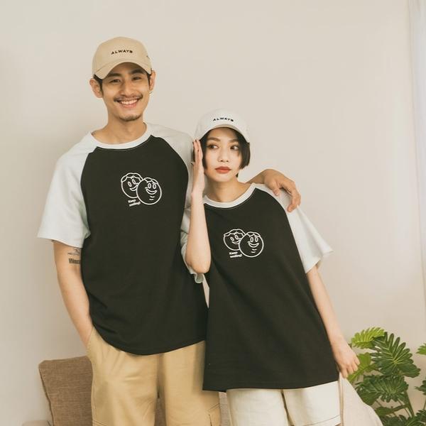 Queen Shop【01038877】中分哥 微笑情侶撞色棒球T 兩色售 1/2*現+預*