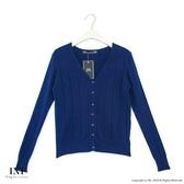 【INI】實穿日常、坑條織紋素色針織外套.深藍色