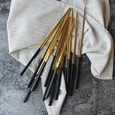 304不銹鋼餐具 創意家用方形防滑筷子勺子 歐式高檔鍍黑金筷【新年交換禮物降價】