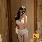 泳衣女性感分體比基尼遮肚顯瘦深V聚攏修身網美度假溫泉游泳裝【慢客生活】