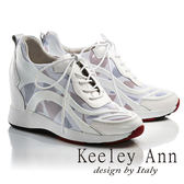 ★2017春夏★Keeley Ann陽光女孩~網狀運動風格綁帶全真皮內增高休閒鞋(白色)-Ann系列