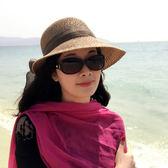 海灘帽 新款蝴蝶結草帽沙灘帽子女夏海邊休閒百搭遮陽帽大沿帽度假可折疊 芭蕾朵朵