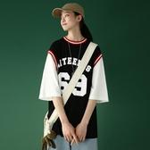 短袖T恤女ins潮網紅寬鬆韓版超火運動假兩件上衣原宿風籃球衣服夏