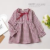 法式緞帶格紋木耳邊棉麻洋裝 長版 紅白格紋 公主袖 鄉村風 女童裝 女童洋裝 秋冬童裝 童裝