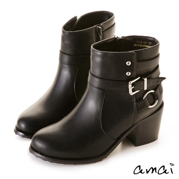 多層次圓環皮帶裝飾粗跟短靴