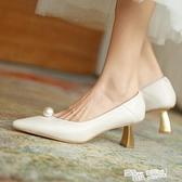小眾白色法式高跟鞋名媛尖頭粗跟2021新款復古小跟單鞋女貓跟婚鞋 夏季新品