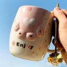 貓爪杯 貓爪杯子大容量日式櫻花網紅高顏值仙女水杯可愛少女心陶瓷馬克杯 韓菲兒