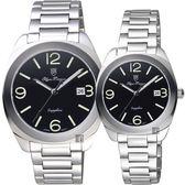 Olympianus 奧柏 經典復刻對錶-黑x銀/40+34mm 5706MS+5706LS