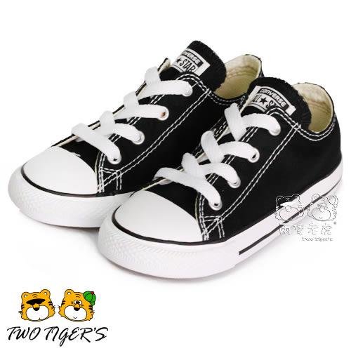 CONVERSE ALL STAR 黑色 低筒 基本款 鞋帶款 帆布鞋 小童鞋 NO.Q3581