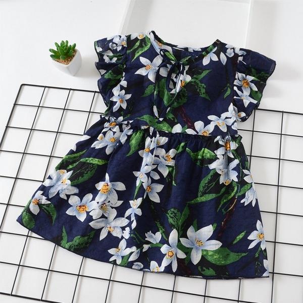 女童短袖洋裝 夏日碎花 嬰幼兒連身裙 透氣棉麻 女寶寶童裝 SG30803 好娃娃