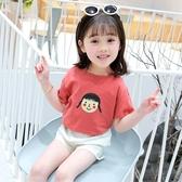 女童t恤短袖兒童純棉2020夏季新款中袖夏裝上衣中大童半洋氣百搭 滿天星