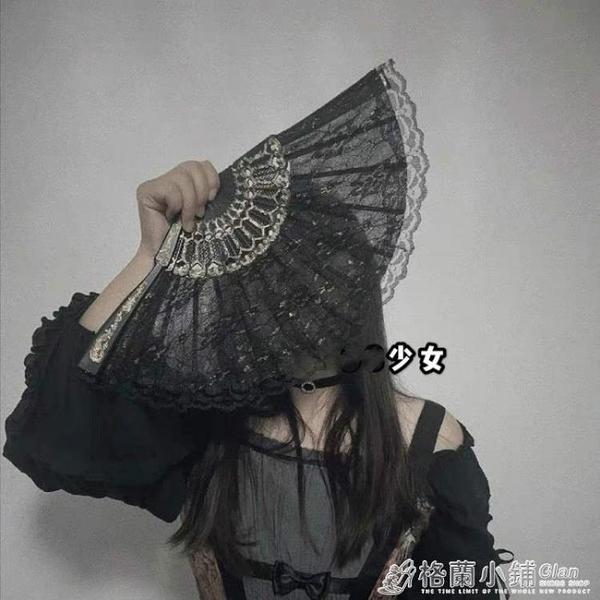 少女黑暗蘿莉病嬌哥特風洛麗塔復古風日式和風蕾絲旗袍扇子道具 格蘭小舖 全館5折起