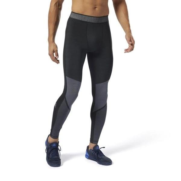 REEBOK TRAINING JACQUARD 男裝 長褲 緊身 慢跑 訓練 透氣 黑 【運動世界】 DP6556