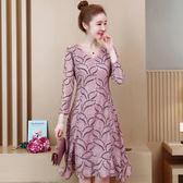 大碼洋裝 年輕媽媽寬松顯瘦打底裙遮肚闊太太連身裙秋高貴
