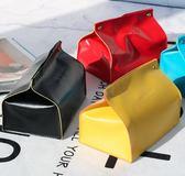 北歐清新家用皮革簡約餐桌面紙盒抽紙盒面紙收納紙抽盒車載面紙盒【潮咖地帶】