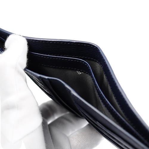 MONTBLANC萬寶龍 4810 Westside系列 防刮牛皮短夾 深藍