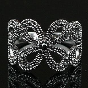 複古銀飾品時尚個性鑲鑽四葉草花朵戒指 女潮人食指環