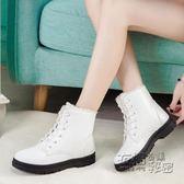 現貨出清雪靴 雪地靴女大碼41-43冬季保暖中筒平底防滑短靴40-44皮面防水42黑白色 衣櫥の秘密