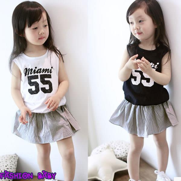 韓版 女童 數位字母背心 拼接條紋短裙 夏季假兩件套 可愛連衣裙 Fashion Baby
