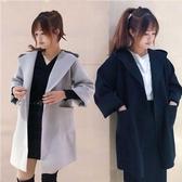 毛呢外套 2020韓版秋冬純色學院風寬鬆連帽中長款羊毛呢子外套風衣大衣女潮 新年慶