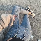 高腰小個子九分小腳牛仔褲女2021秋裝新款顯瘦顯高百搭修身鉛筆褲 米娜小鋪