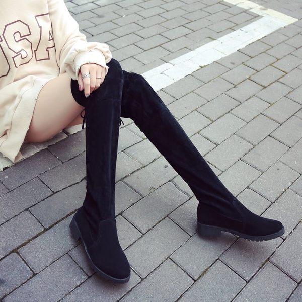 2018秋冬季新款小辣椒粗跟膝上靴女士黑色平底低跟瘦腿長筒靴子