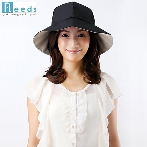 耀您館★日本NEEDS吸濕排汗SHADAN可調頭圍99%抗UV紫外線蝴蝶結防曬遮陽帽大帽簷淑女帽沿大盤帽679756