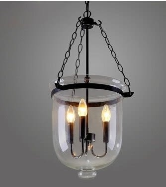 設計師美術精品館現代北歐 田園創意藝術透明玻璃吊燈複古餐廳酒吧台水桶玻璃吊燈25CM