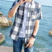 夏季格子襯衫男短袖韓版休閒青少年薄款純棉寸衣學生寬鬆中袖潮