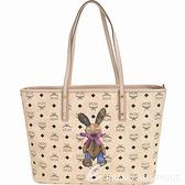 MCM Stark Rabbit 中款 兔子圖案購物包(附萬用包/米色) 1840730-40