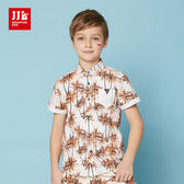 JJLKIDS 男童 海灘小王子椰子樹印花休閒襯衫(海棠橙)