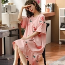 睡裙 睡裙女夏季純棉短袖中長款加肥加大碼...