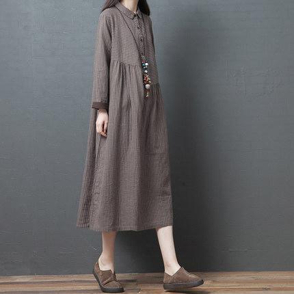 春裝新品1件85折 2020新款韓版 寬鬆大碼中國風 文藝棉麻條紋中長款襯衫裙-不含配飾