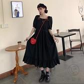 連身裙顯瘦連女夏大碼寬松收腰復古長裙【小酒窩服飾】