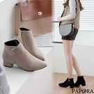 PAPROA絨面尖頭粗跟短靴KY7323...
