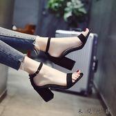 新款夏季女涼鞋韓版時尚簡約百搭一字扣 米蘭世家