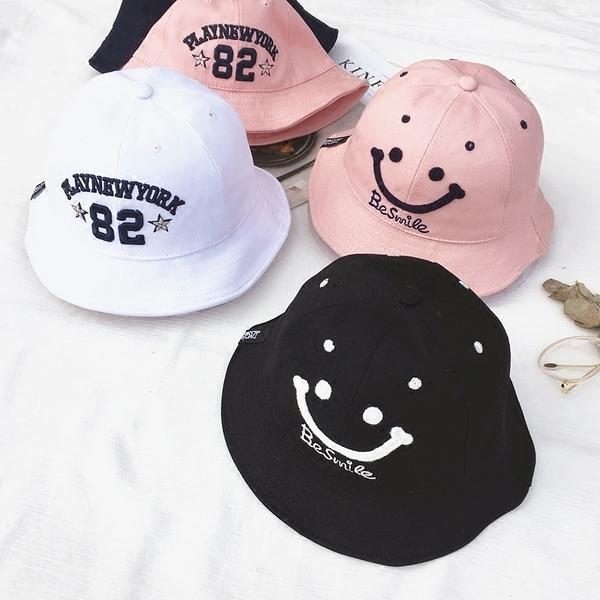 [協貿國際]親子笑臉字母盆帽可折疊遮陽帽子黑色漁夫帽男兒童1入