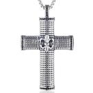 《QBOX 》FASHION 飾品【CHE210】精緻個性粗曠克羅心軍花十字架鑲鑽鑄造鈦鋼墬子項鍊/掛飾