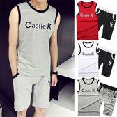 兩件套運動套裝男士夏季短袖跑步服 夏天休閒T恤五分短褲薄款男夏   mandyc衣間