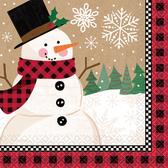 聖誕 餐具 紙巾16入-雪人