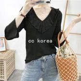 花邊V領透氣七分袖針織衫 CC KOREA ~ Q17551