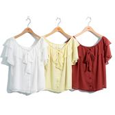 單一優惠價[H2O]可露肩兩穿波浪領蝴蝶結綁帶MIT雪紡上衣 - 磚紅/黃/白色 #0695002