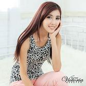 Victoria 豹紋長版背心-女-白色