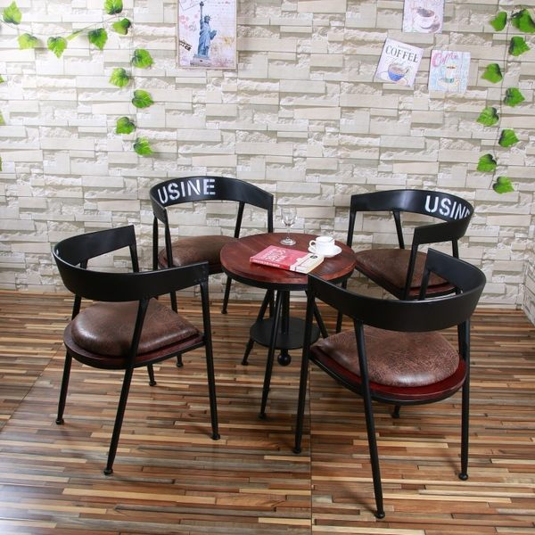 【南洋風休閒傢俱】造型椅系列-美式復古椅/60圓桌/美耐板桌 鐵藝餐廳椅 實木餐椅  (518-10)
