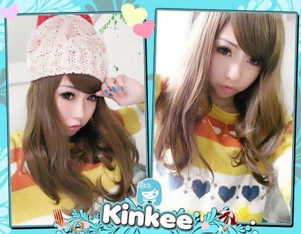*╮Kinkee假髮╭*MIKIYO示範 甜蜜女孩 可愛梨花頭下擺微彎中長髮耐熱【K0021】