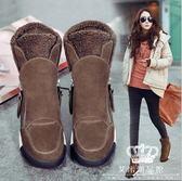 內增高鞋 韓版側拉鏈保暖厚底加絨女短靴